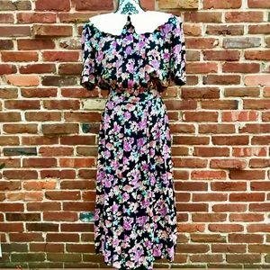 KARIN STEVENS Vintage 80's Collar Floral Tea Dress